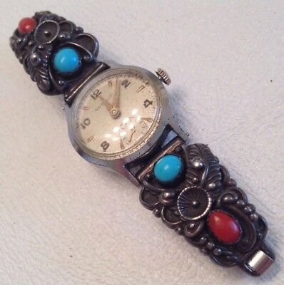 Vtg Gubelin Ladies Winding Watch W/ Stc Sterling Usa Coral & Turquoise Band Runs
