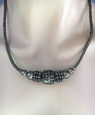 Vintage Early 1900's Yemen Tribe Silver Beaded Necklace Toggle Clasp