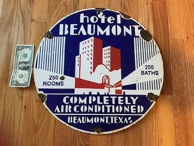 Hotel Beaumont Texas Deco Porcelain Advertising Sign Old Vintage Great Graphics