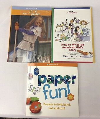 3 New AMERICAN GIRL BOOK MEET JULIE 1974 & How to Write AG Story, Paper Fun Lot