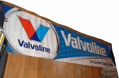 """VALVOLINE NASCAR BANNER """"Welcome Race Fans"""", 8.75 feet x 22 inches; NEW & UNUSED"""