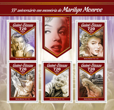Guinea-Bissau 2017 MNH Marilyn Monroe 55th Memorial 5v M/S Celebrities Stamps