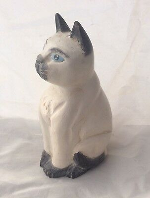 Vintage Wooden Carved Cat Figurine Large Size Hand Painted Folk Art Sculpture