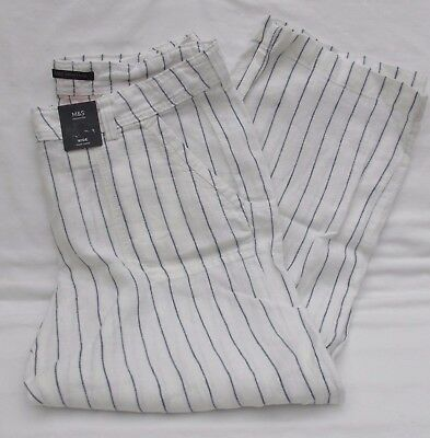 Ladies Marks And Spencer White And Navy Striped Flax Linen Wide Trousers Size 18