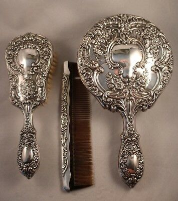 Gorham Sterling Silver Mirror Brush Comb Dresser Set Repousse Style 925