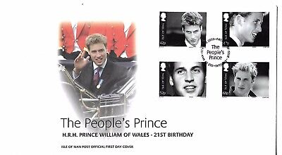 Isle of Man - Prince William Set - First day Cover (Unaddressed) - 2003