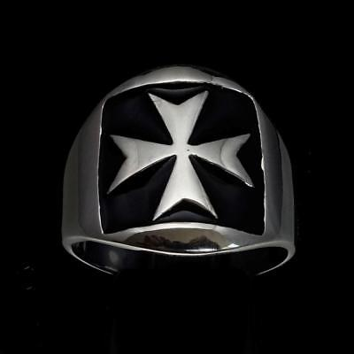 Sterling Silver Mens Medieval Knight Ring Maltese Cross Black Enamel Any Size
