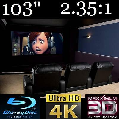 """103"""" 2.35:1 Pro-Curve 4K Home Theater Projection Fixed Projector Screen 3D Ready"""