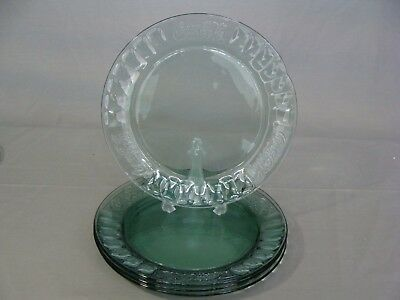 4 Indiana Glass Green Glass Salad Plates In The Coca Cola Pattern