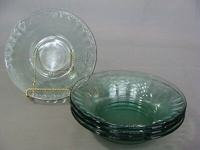 4 Indiana Glass Green Glass Soup Bowls In The Coca Cola Pattern