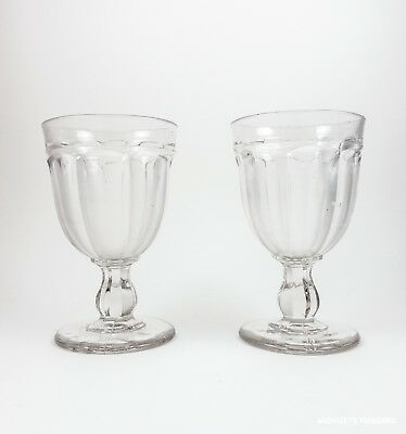 Pair of Antique Clear Pressed Flint Glass Bessimer Flute 1860's
