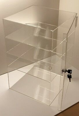 """Acrylic Counter Top Display Case 8""""x 8"""" x16""""Locking Cabinet Showcase Boxes"""