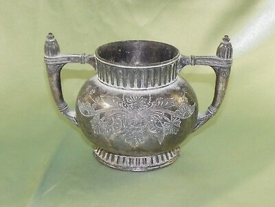 Vintage Southington Double-Stamped Silver Plated Etched Sugar Bowl With No Lid