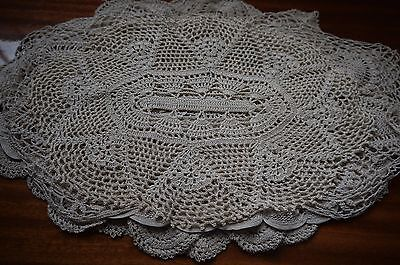 Bulk Lot Crochet Doilies 5 Oval Beige Hand Worked 40 x 20cm Approx