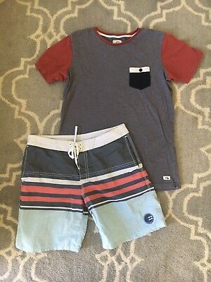 Boys Sz 14 Billabong And Quiksilver Tee And Shorts