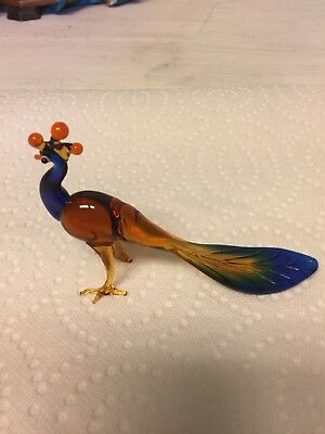 Peacock Hand Made Glass Figurine with long tail feathers
