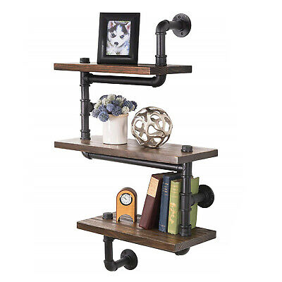 Industrial 3tier Wood Storage Shelf Wall Metal Pipe Shelving Bookcase Home Decor