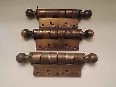 Antique 1888 Solid Brass Hinge Ball Tips Door Hardware Set of Three