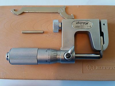 """Mitutoyo 1"""" Interchangeable Anvil Micrometer .0001"""" Carbide Face FrictionThimble"""