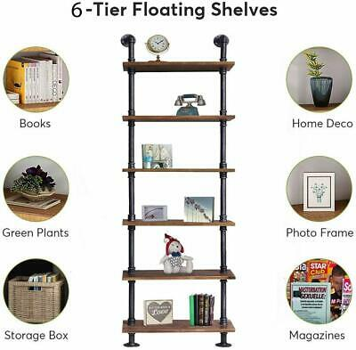 Industrial 6-shelf Bookcase Wall Mounted Storage Wood Shelf Book Pipe Shelving