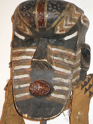 Rare African Carved Wood Tribal Ceremonial Mask* *painted+Metal+Cloth+Shells*