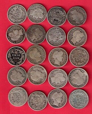 ***  Lot Of  [[  20  ]]  Silver Barber Dimes Vg And Better   ***
