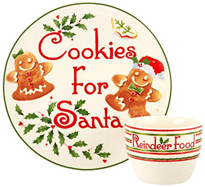 Cookie Plate and Bowl Set Lenox 2 Pieces Countdown to Christmas for Santa Ivory