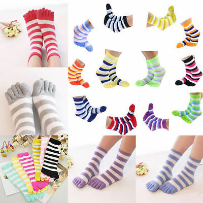 Lots 5Pairs Women Fall Colorful Striped Hosiery Cotton Casual Toe Socks Random A