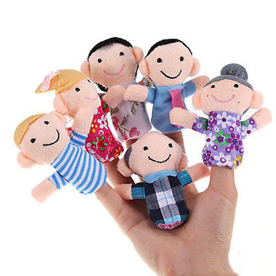 6Pcs Baby Play Game Learn Family Hand Cloth Doll Finger Puppets Toys Set Welcome