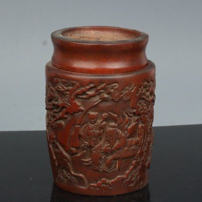Chinese Exquisite Hand-carved character landscape carving bamboo pot