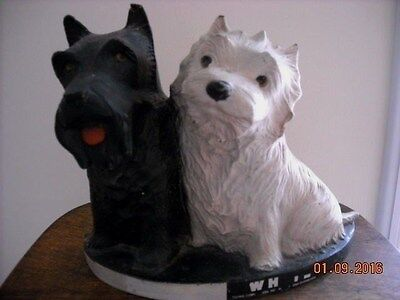Vintage Black & White Scotch Whisky Store Advertising Scotty Dogs Figurine
