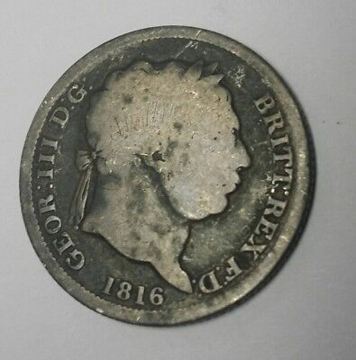 RARE George III D.G Rex Silver Shilling 1816 UK 201 YEARS OLD
