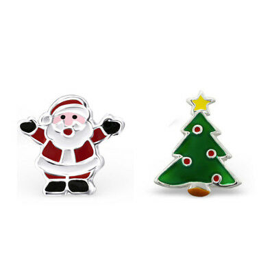 925 Sterling Silver Father Christmas Santa Christmas Tree Star Stud Earrings