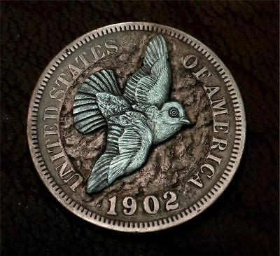 "Hobo Nickel ""Peace On Earth"" Indian Head Penny Dove Silver Coin Howard Thomas"