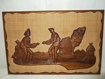 Vintage Mid Century MCM Wood Carved Wall Hanging Asian COCK FIGHT Witco Era