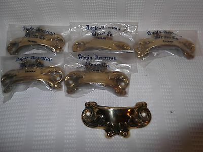 $24.99 Lot set 6 Brass Drawer Pulls Anglo American Brass French Provincial