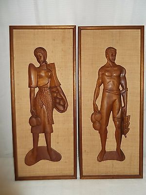 Vintage Pair Set Mid Century MCM Wood Carved Wall Hanging Asian Couple Witco era