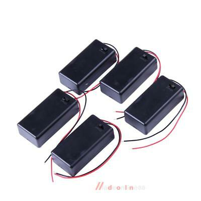 5PCS 9V Volt Battery Holder Box Case DC with Wire Lead ON OFF Switch Cover US