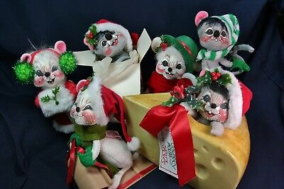 Annalee Christmas Dolls Mouse Adorable Lot Of 6