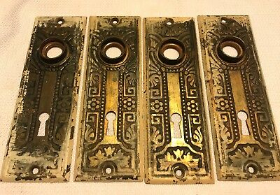 4 antique door knob matching plates Victorian brass?