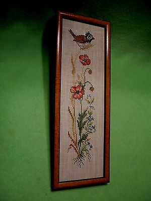 Vintage needlework artwork on heavy linen of SPARROW perched on wheat & flowers.
