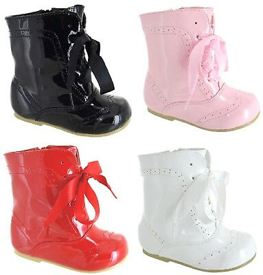 Baby Kids Girls Infants Ankle Bridal Wedding Party Patent Shoes Boots Size 3-8