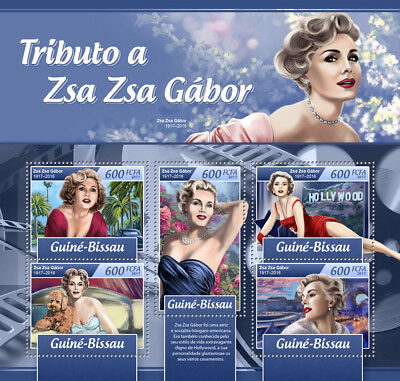 Guinea-Bissau 2017 MNH Zsa Zsa Gabor 5v M/S Movie Stars Celebrities Stamps