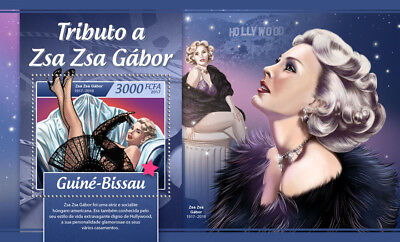Guinea-Bissau 2017 MNH Zsa Zsa Gabor 1v S/S Movie Stars Celebrities Stamps