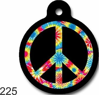 Peace sign rainbow multi color round cute dog cat custom pet tag by ID4PET