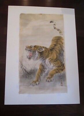 Antique Chinese Painting Of A Tiger Signed With Chop Marks on Silk