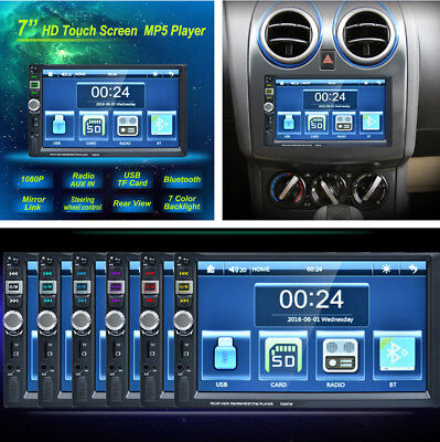 "7"" TFT Touch Screen 2DIN Auto Car Radio MP5 Player Bluetooth Mirror Link AUX IN"