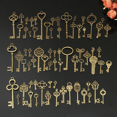 70Pcs Antique Old Look Bronze Skeleton Key Fancy Heart Bow Pendant Decor Natural