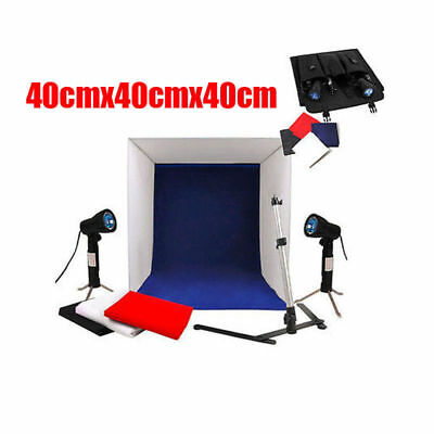 40cm Photography Studio Lighting Tent Cube Soft Box Camera Stand Backdrops Kit