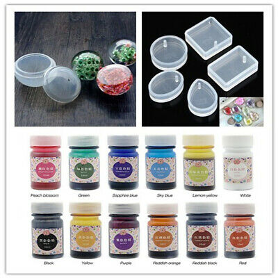 12 Bottles Epoxy UV Resin Dye Colorant Pigment + 6 Jewelry Molds for Crafts DIY